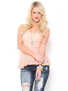 #Lace Bow Back #Peplum Top