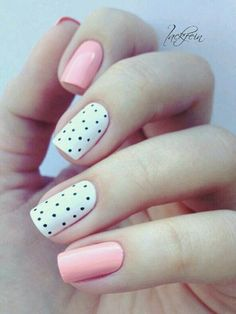 Baby Pink and White Dotted Nail Art Idea for Spring #Dottednails #NailArt #nailartdesigns #NailArtIdeas #nudenails #easynailart #easternails #springnails