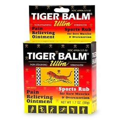 """Tiger Balm Ultra Sports Rub- 1.7 OZ   Sports Rub for Sore Muscles and Over-Exertion. Imported. Provides soothing relief for aches and pains due to: Over-Exertion, Joint Pains, Backaches, Arthritis, Stiffness, Sprains. Tiger Balm has been used for nearly 100 years and sold throughout the world. Tiger Balm """"Works where it hurts."""" Uses for temporary relief of minor aches and pains of muscles and joints associated with over-exertion, simple backache, arthritis, strains and sprains."""