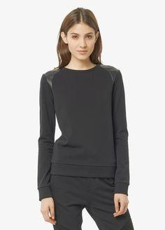 Leather Shoulder Sweatshirt | Vince