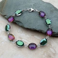 f2142274e Faceted Glass Bead, Crystal Quartz Stone and Sterling Silver Bracelet  £12.00 Quartz Stone,