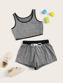 Apr 2020 - Girls Contrast Binding Tank Top & Drawstring Waist Shorts Set – Kidenhouse Teenage Outfits, Sporty Outfits, Cute Outfits For Kids, Cute Summer Outfits, Cute Casual Outfits, Outfits For Teens, Cute Girl Outfits, Emo Outfits, Batman Outfits