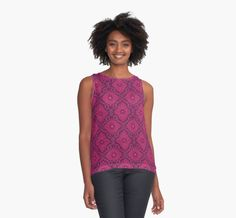 """""""Ruby flowers"""" contrast tank top by ClipsoCallipso on Redbubble #ruby,#pink, #maroon, #flower, #floral, #pattern, #tanktop, #top, #boho, #bohemian, #vintage"""