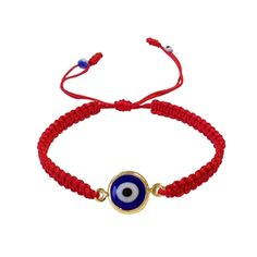 Trendy Lucky Eye bracelet of hand knotted nylon red string, with gold filled beads, and a glass Lucky Eye. Great for stacking with other bracelets or by itself.