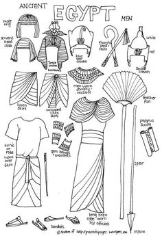 Ancient Egypt Men paper dolls de practicalpages