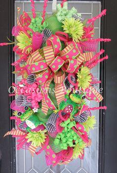 Summer Wreath, Summer Door Swag, Wreath for Summer, Floral Wreaths, Double Door Wreath, Door Hanger, Wreath for Door, Front door wreaths by OccasionsBoutique on Etsy