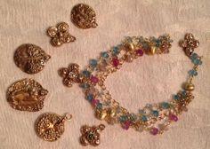 Valentine's Day Sapphire Bracelet Pink Blue Gold by trebelladallas, $112.00