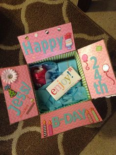 Best friend birthday box! Decorate the inside of the box with scrap booking supplies and fill with gifts! #bestfriends #birthdaybox #craftideas #longdistancefriendship