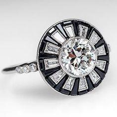 Art-Deco-Stil Diamant w / Onyx Halo Verlobungsring Platin antike Repro . - Lauren Ashley - Art Deco Style Diamond w/ Onyx Halo Engagement Ring Platinum Antique Reproductio. Art-Deco-Stil Diamant w / Onyx Halo Verlobungsring Platin antike R. Art Deco Schmuck, Bijoux Art Deco, Art Deco Jewelry, Jewelry Rings, Fine Jewelry, Jewelry Design, Jewelry Ideas, Jewlery, Deco Engagement Ring