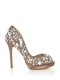Karen Millen Baroque Jewel Peep Toe Shoe Silver - House of Fraser