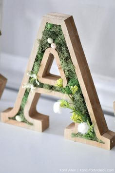 DIY moss wooden Easter letters for your home via Kara's Party Ideas MichaelsMakers