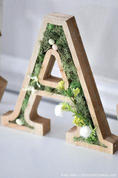 DIY moss wooden lett