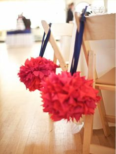 Chair Pomanders    Perfect for the ceremony or reception (or both!), tissue, fabric or floral pomanders will dress up basic chairs and add color to your venue.