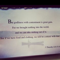 Godliness with contentment...my goal