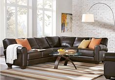 picture of Trentino Brown Leather 2 Pc Sectional  from Leather Sectionals Furniture