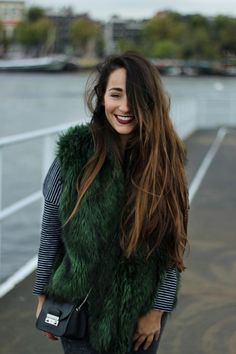 Wouldn't have thought a green fur vest would be cute, but this actually looks so good! Fashion Mode, Fashion Beauty, Womens Fashion, Fashion Trends, Net Fashion, Looks Style, Style Me, Boho, Mode Cool
