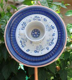 Blue Glass Plate Garden Flower