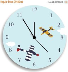 ON SALE Nursery Wall Clock, Airplanes in the Sky, Children Room Decor by KidODesignStudio on Etsy https://www.etsy.com/listing/152449661/on-sale-nursery-wall-clock-airplanes-in