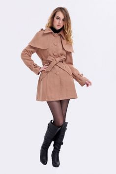 Classic Apricot Woolen Poncho Women's Trench Coat