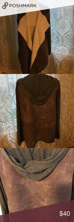 EUC  faux suede fur lined cardi EUC. Faux suede front and back, jersey hood and shoulders, faux fur lined. From golden tote. Naked Zebra Sweaters Cardigans