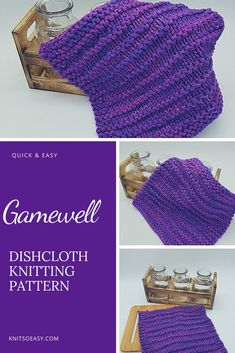 The Gamewell dishcloth and washcloth pattern complements contemporary kitchen & bath decors. A nice solid color cotton show off the clean, simple lines. Bonus: It is so quick & easy to knit! #knitsoeasy #knitted washcloth pattern #simple washcloth knit pattern #knitting pattern #knit dishcloth pattern easy