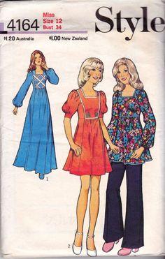 Boho Empire Waist Maxi Dress 70s Vintage by allthepreciousthings