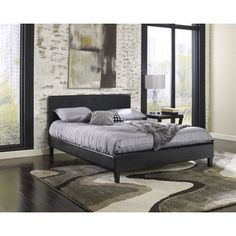 Sleep Sync Beaumont Upholstered Black Leather Complete Platform Bed - Overstock™ Shopping - Great Deals on Sleep Sync Beds
