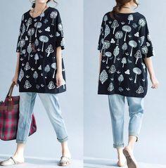 Summer Loose T-Shirt Large size cotton round neck women от MaLieb