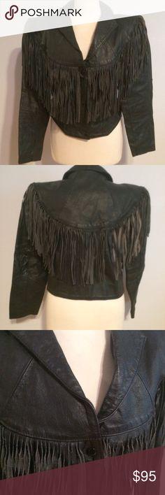 Black leather fringe jacket Michael Jackson L Awesome Black leather fringe jacket. Mix of boho meets Michael Jackson. Gently used. Size L Jackets & Coats