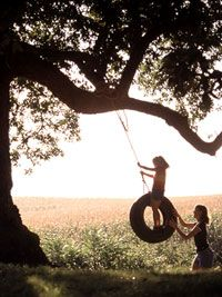 Now...this would be nice..to have my children small again and swing them in this tire swing. Just make another memory together..