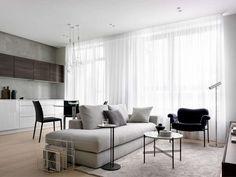 living room Apartment Design, Apartment Living, Living Room, Arch Interior, Interior Design, Minimalist Apartment, Dining Bench, Furniture Design, Curtains