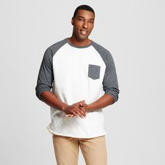 Men's Big & Tall 3/4 Sleeve Baseball Tee White MT - Mossimo Supply Co.