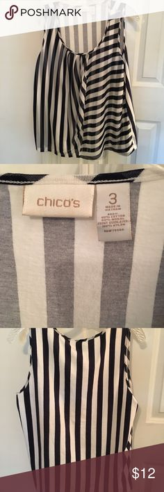 Chico's stripe top Black & White Size 2 (12-14) Nylon stripe top by Chico's size 2 which is a large - black and white stripes Chico's Tops Tank Tops