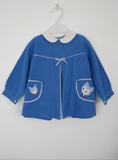 Vintage 1950s Blue Novelty Cat Print Dress - Peter Pan Collar - 2 Yrs available to buy online at Virtual Vintage Clothing