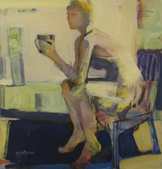 "Melinda Cootsona, ""Morning Coffee""  46 x 48 oil on canvas,"