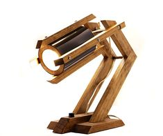 UFO Spacecraft Wooden Timber Rustic Desk Lamp III by WoodWarmth, $129.00
