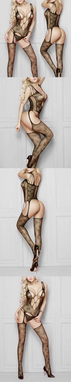 lingerie costumes sexy underwear Fishnet Babydoll Intimate Sleepwear Underwear BODYSTOCKING see-through wedding night black $4.99