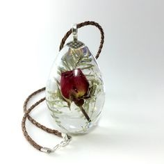 Large Drop Pendant, Real Red Rose Casted in Clear Resin, Artisan Jewelry by HotLineJewelry on Etsy