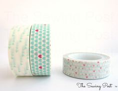 Washi Tape Set: Mint Love by TheSewingPost on Etsy https://www.etsy.com/listing/105996157/washi-tape-set-mint-love