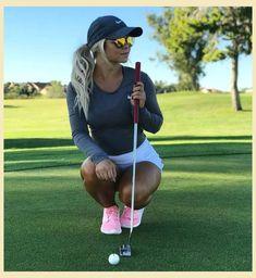 Female Golfer in dark blue shirt & white dress Girl Golf Outfit, Cute Golf Outfit, Sexy Golf, Girls Golf, Ladies Golf, Golf Chipping, Golf Attire, Golf Skirts, Golf Fashion
