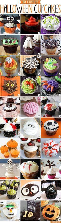 30 Cutest Halloween Cupcakes! Adorable ideas for Halloween cupcake decorating! Más