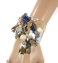 Mermaid Cuff Bracelet Big Vintage Assemblage Blue Agate