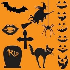 Halloween  orange and black mainly   bright red purple green   neon too
