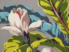 RARE Caribbean Blue Lime Tropical Vintage Barkcloth Era Fabric