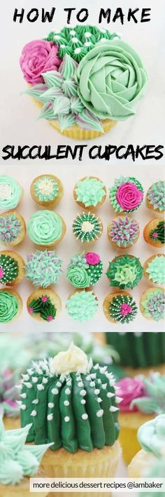 to Make Succulent Cupcakes - Looking for cupcake decorating ideas for kids? - How to Make Succulent Cupcakes - Looking for cupcake decorating ideas for kids?How to Make Succulent Cupcakes - Looking for cupcake decorating ideas for kids? Cupcakes Succulents, Kaktus Cupcakes, Fun Cupcakes, Birthday Cupcakes, Cupcake Cookies, Cupcake Toppers, Simple Cupcakes, Baking Cupcakes, Fondant Cupcakes