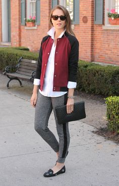 Your fall look is sure to be a home run with this color blocked baseball jacket. | Source: http://www.pennypincherfashion.com/2014/10/3-ways-to-wear-joggers.html