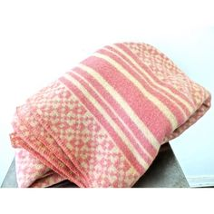 Vintage 1940s-50s Fieldcrest pink heavy wool blanket; some minor signs of light-normal age/use but overall fantastic condition. 2 identical blankets available.