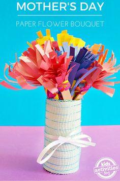 Super Cute Construction Paper Flower Bouquet