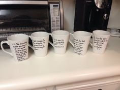 Really easy DIY personalized coffee mugs, wipe down with vinegar first then don't touch surface of cup, next draw design with a black sharpie (all other colors turn different colors in the oven) and then put in a room temperature oven and set the oven to 425 for 30 minutes, when done crack oven a little and let it sit in the oven until it is cool to the touch and then it should be dishwasher safe!!!