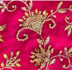 Zardosi Embroidery, Hand Embroidery Dress, Tambour Embroidery, Bead Embroidery Patterns, Gold Embroidery, Hand Embroidery Designs, Embroidery Stitches, Hand Work Design, Maggam Work Designs